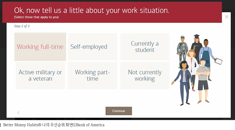Better Money Habits 나의 우선순위 화면Bank of America